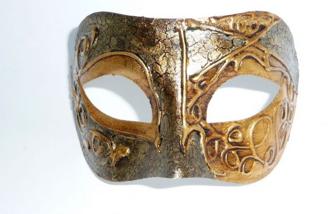 Genuine Venetian Exclusive Gold Crackle Half Mask  (1) a